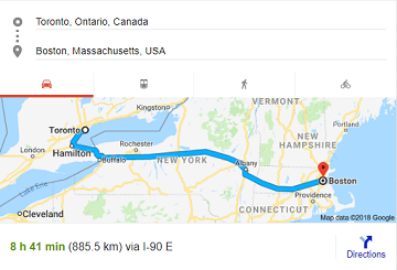 Moving from Boston to Toronto. Moving from Toronto to Boston